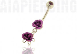 Piercing nombril pendentif roses violettes