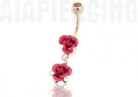 Piercing nombril pendentif roses roses