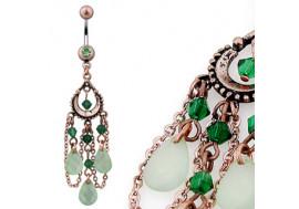 Piercing nombril vintage vert foncé