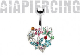 Piercing nombril cœur floral