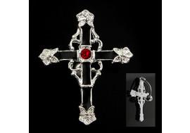 Piercing nombril inversé croix pierre rouge