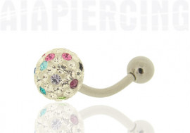 Piercing nombril cristaux swarovski multicouleurs