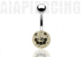 piercing nombril Shamballa Smiley noir swarovski