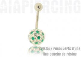 piercing nombril Swarovski - points verts