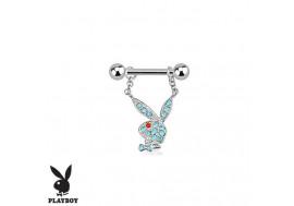 Piercing téton lapin Playboy® turquoise pendentif