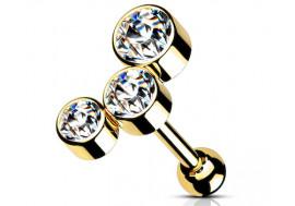piercing hélix cluster plaqué or