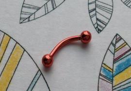 Piercing arcade acier anodisé rouge 8mm