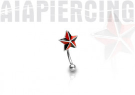 Piercing arcade étoile rouge et noir