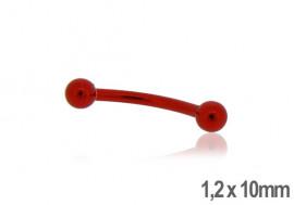 Piercing arcade acier anodisé rouge 10mm