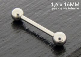 Piercing basic barbell 16mm pas de vis interne