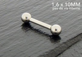 Piercing basic barbell 10mm pas de vis interne