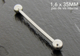 Piercing basic barbell 35mm pas de vis interne