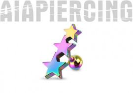 Piercing cartilage étoiles arc en ciel