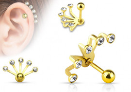 Piercing oreille Ear Cuff plaqué-or multi- cristaux