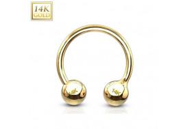 Piercing anneau fer à cheval or 14 carats