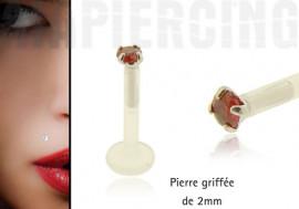 Piercing labret pierre griffée 2mm rouge