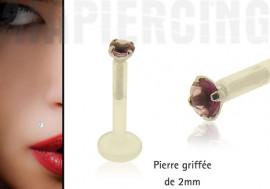 Piercing labret pierre griffée 2mm violette