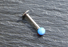 Piercing labret perle opalite bleue