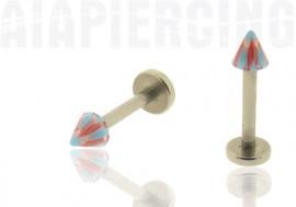 piercing labret pointe bleue et rouge