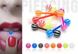 Piercing langue acrylique candy