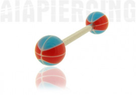Piercing langue basket rouge et bleu