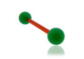 Piercing langue acrylique vert tige rouge