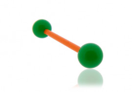 Piercing langue acrylique vert tige orange