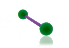 Piercing langue acrylique vert tige violette