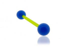 Piercing langue acrylique bleu tige verte