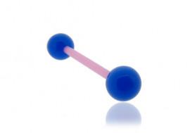 Piercing langue ou téton acrylique bleu tige rose