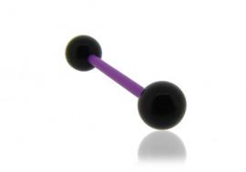 Piercing langue acrylique noir tige violette