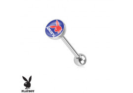Piercing langue Playboy® lapin bleu et rouge