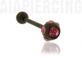 Piercing langue blackline cristaux roses