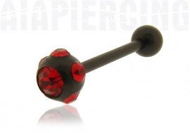 Piercing langue blackline cristaux rouges