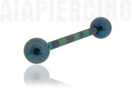 Piercing langue rayé bleu et vert