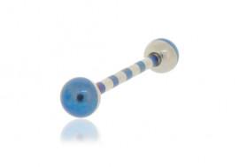 Piercing langue acier et bleu rayé
