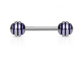 Piercing barbell rayée bleue