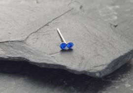 DESTOCKAGE Piercing nez 2 pierres - bleu foncé