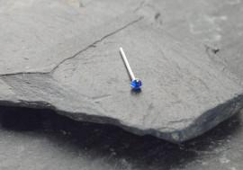 Piercing nez pierre 3 griffes - bleu foncé