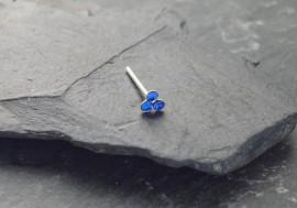 DESTOCKAGE Nez Argent 3 pierres 1,5mm - bleu foncé
