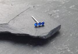 Piercing nez 3 pierres - bleu foncé