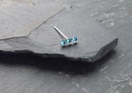 Piercing nez 3 pierres - bleu turquoise