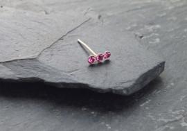 Piercing nez 3 pierres - rose