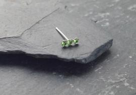 Piercing nez 3 pierres - vert clair