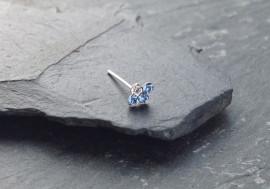 Piercing nez 4 pierres - bleu clair