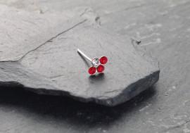 Piercing nez 4 pierres - rouge