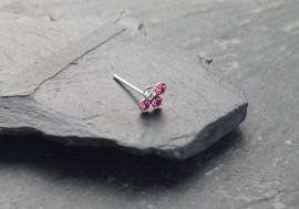 Piercing nez 4 pierres - rose