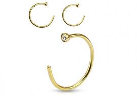 Piercing nez anneau doré ouvert strass