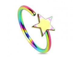 Piercing nez anneau étoile multicouleur