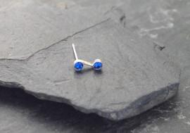 Piercing nez S deux pierres - bleu foncé
